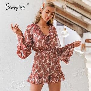 Image 3 - Simplee V cuello de encaje floral mujer elegante flare manga monos de gasa mameluco Playa Damas de