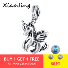XiaoJing 925 sterling silver cute horse charms bead fit Original pandora charm Bracelet beads diy jewelry making for women gifts