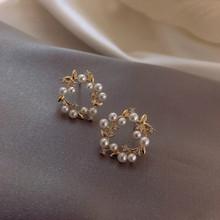 Classic Simulated-pearl Round Women Dangle Earrings Simple Flower Earrings Bohemian Drop Earrings Jewelry Earrings cheap NoEnName_Null Zinc Alloy