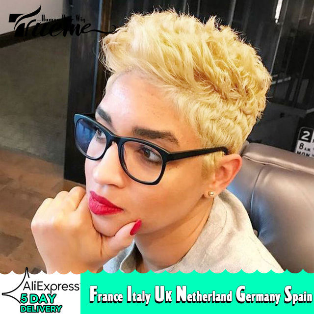 Trueme קצר Ombre בלונדינית שיער טבעי פאות לנשים בצבע ברזילאי לערבב חום שחור פיקסי לחתוך תחרה אדם פאה