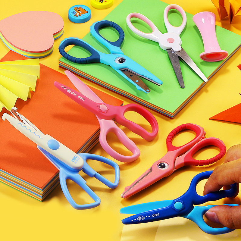 Deli 2PCS Kids Cartoon Utility Knife Cut Art Paper Scissors School DIY Scrapbook Paper Diary Craft Decorating Tools
