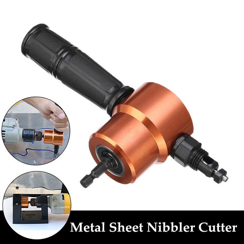 Double Headed Sheet Metal Cutting Nibbler Metal Saw Cutter 360 Degree Adjustable Drill Attachment With Extra Punch Cutting Tools