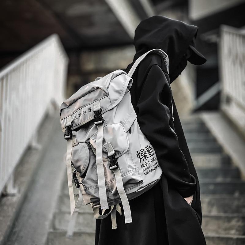 Large  Tide Brand Backpack Men's Fashion Trend 15.6-inch Computer Backpack Multi-pocket Student Bag Female Cute Panda Pendant