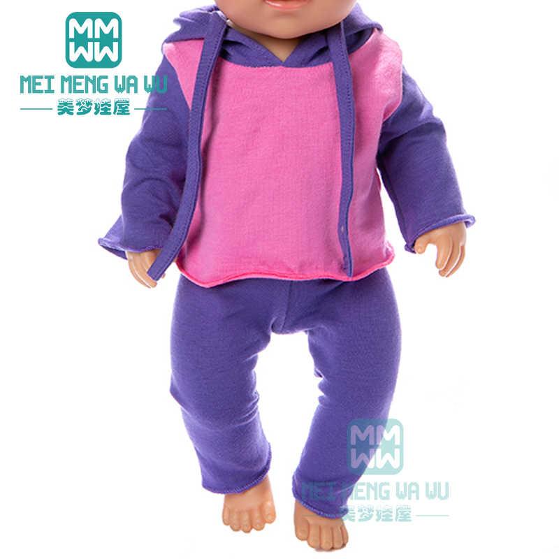 Roupas de bebê para boneca ajuste rosa casual moletom terno para 43cm recém nascido boneca e boneca americana