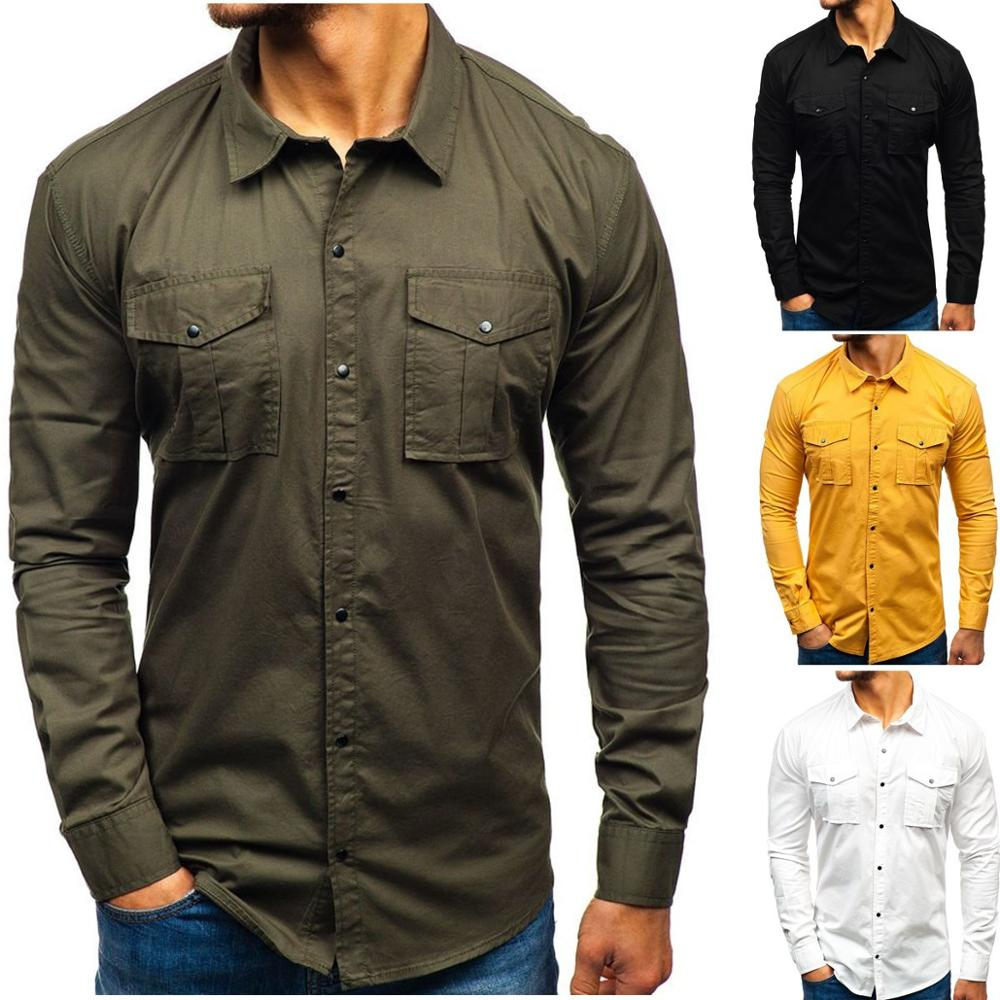 Men Shirts Europe Size New Arrivals Slim Fit Male Shirt Solid Long Sleeve British Style Cotton Men's Shirt S-3XLB259