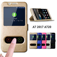 Flip Cover For Samsung A7 2017 Case Luxury Quick Answer View Window Flip Case for Samsung Galaxy A7 2017 Case A720 Phone Cases(China)