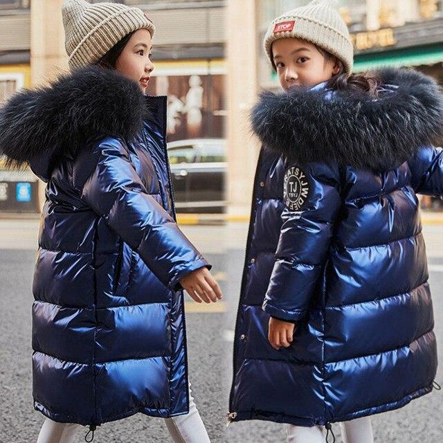 Rusya Snowsuit 2020 çocuk kış aşağı ceket kızlar için giysi su geçirmez açık kapüşonlu ceket çocuklar parka gerçek kürk giyim