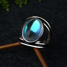 Bague Vintage en pierre de lune pour femmes, anneau exagéré, couleur argent, bijoux, nouvelle taille 6 7 8 9 10, 2020