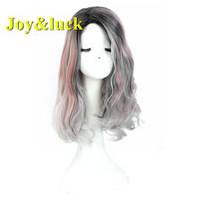 Joy&luck Fashion Long Natural Curly Wig Ombre Pink Mixed Grey Color Wig Synthetic Cute Wig for Women&Girls(China)