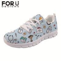 Spring Nurse Flat Shoes Women Cute Cartoon Nurses Printed Women's Sneakers Shoes Breath Mesh Flats Zapatos de Mujer