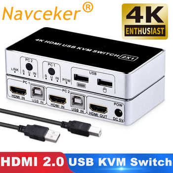 2019 4 18K 60 60hz KVM スイッチ HDMI 2 ポート HDMI KVM スイッチ USB PC コンピュータ KVM スイッチキーボードマウススイッチャーボックスラップトップのための、 PS4 、 Xbox - DISCOUNT ITEM  56% OFF All Category