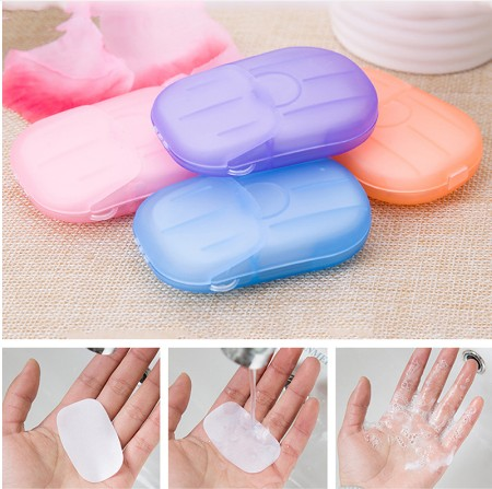 Hot Sale New  Portable Mini Travel Soap Paper Washing Hand Bath Clean Scented Slice Sheets Disposable Boxe Soap Whitening 20pcs
