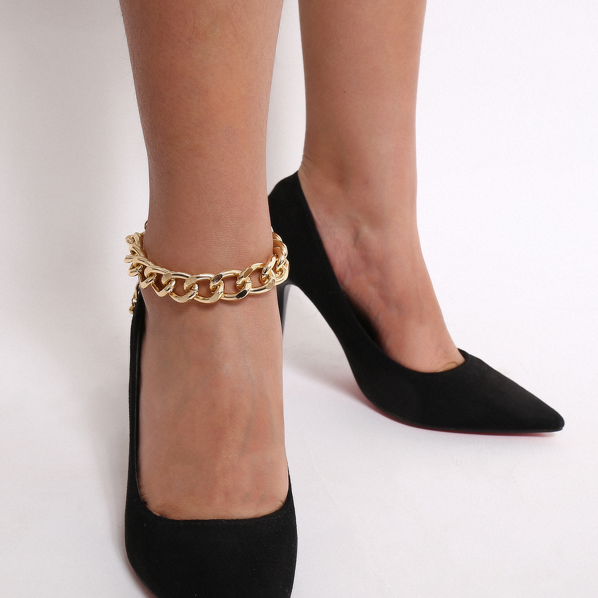 Lacteo Punk Thick Chunky Chain Anklet for Women Statment Fashion Anklet Hip Hop Golden Cross Chain Charm Anklet Female Jewelry 1