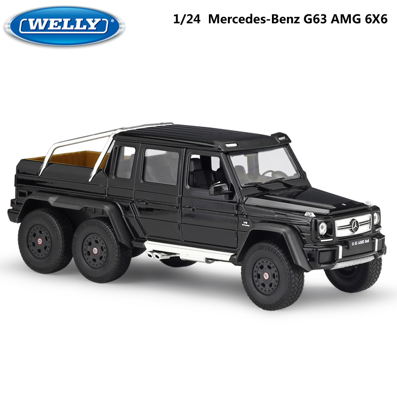 WELLY Diecast 1:24 Scale Model Car Mercedes-Benz G63 AMG 6X6 Classic Truck Off-road Vehicle Metal Alloy Toy Car For Kids Gift