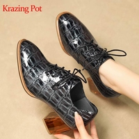 Krazing Pot real cow leather plaid print crystal thick high heel round toe lace up Autumn Spring career elegant women pumps L2f6