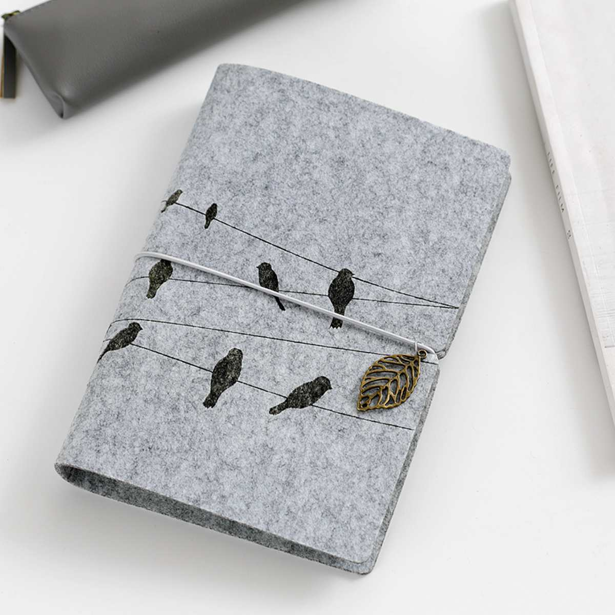 A6 Felt Shell Fabric Notebook Loose Leaf Notebook Paper Planner Inner Page Ring Binder Stationery Gift Traveler Journal Diary