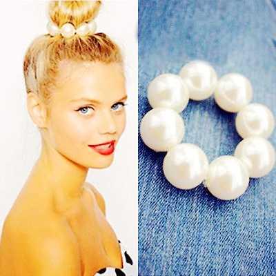 Guma do włosów elastyczna gumka do włosów dla kobiet opaska do włosów bezszwowe pierścienie gorąca nowa perła koraliki nakrycia głowy dziewczyny tie gum holder biżuteria