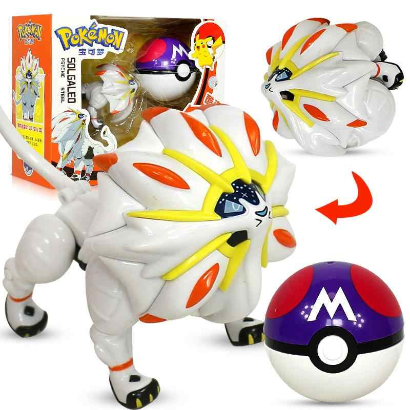 Pokemon Pikachu Solgaleo Mainan Model Saku Elf Bola Manual Deformasi Robot Elf Bayi Film & TV Mainan Figure