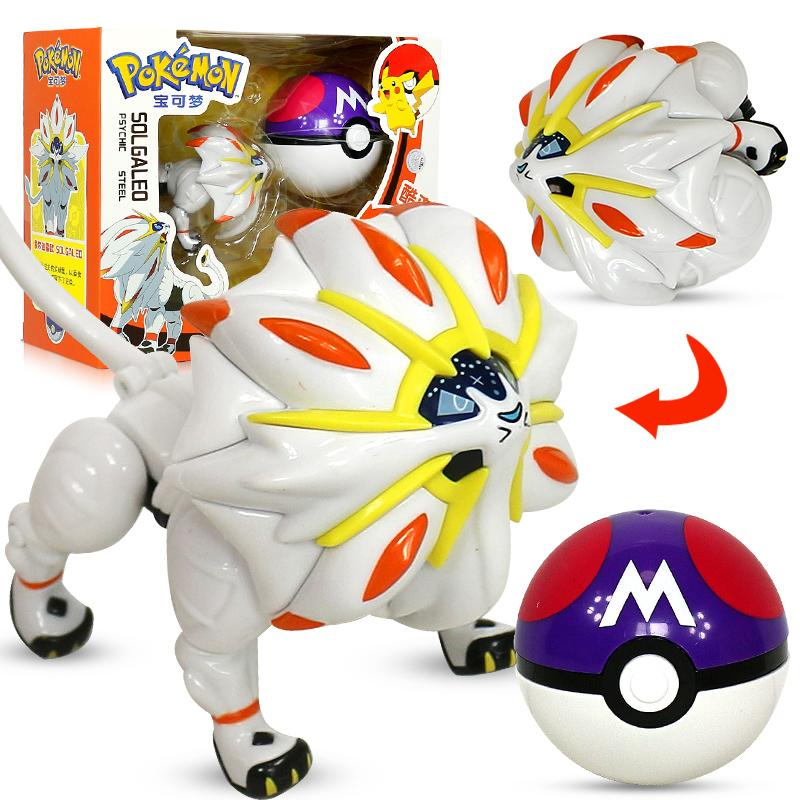 Pokemon Pikachu Solgaleo Toys Model Pocket Elf Ball Manual Deformation Robot Elf Baby Set Movie & TV Toy Figure