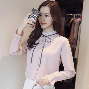 2019 spring and autumn new long-sleeved shirt em8 female collar shirt was thin chiffon top NHD-14
