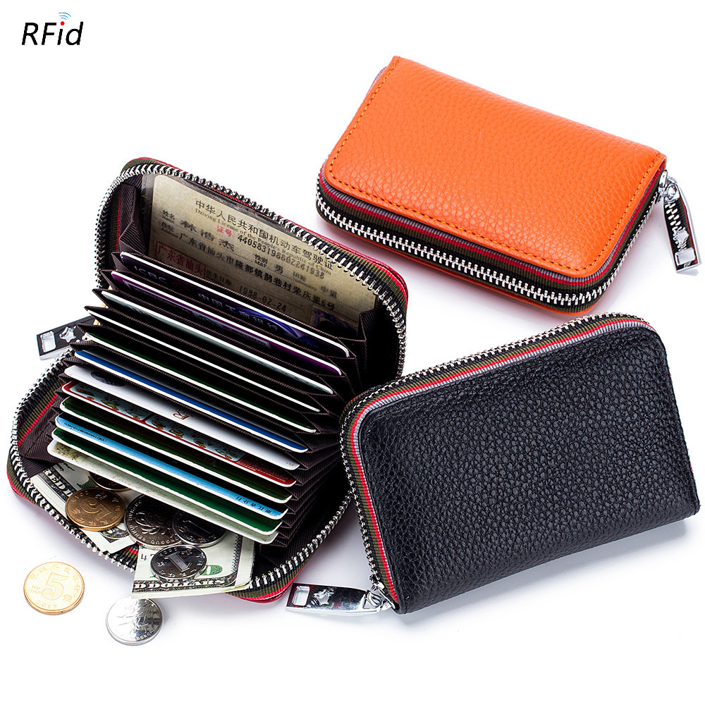 Genuine Leather Men Women Card Holder Small Zipper Wallet Solid Coin Purse Accordion Design rfid ID Business Credit Card Bags