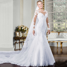 Sheer Neck Long Sleeve Mermaid Sweetheart Wedding Dress 2019 Embroidery Appliques Plus Size White Court Train Wedding Gown plus sweetheart bishop sleeve dress