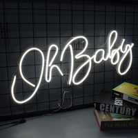 Custom personalized Oh baby neon sign 12V Transparen acrylic white light 3D flex led light home Ins wall decor