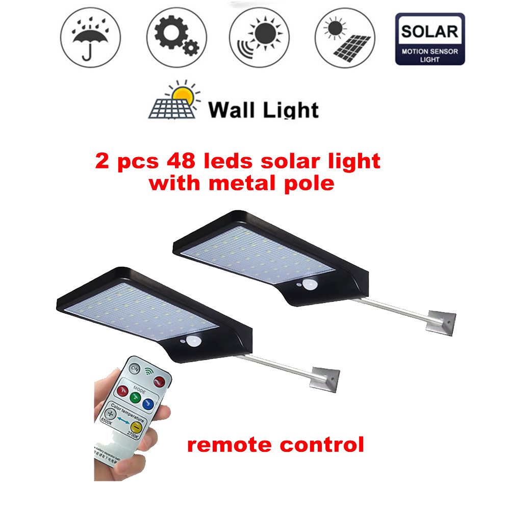 2/4pcs Outdoor 48 LED Solar Light PIR Motion Sensor Wall Lamp Waterproof Garden Light Path Emergency Security Light 3 Sided Lumi