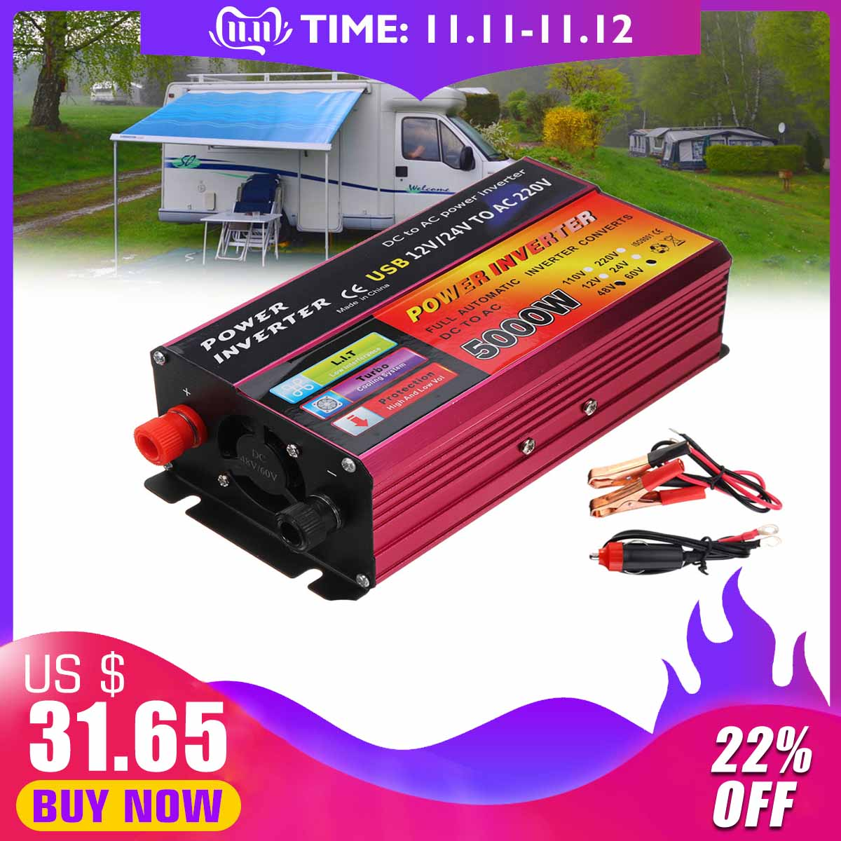 Inverter 12V/24V  220V 5000W Peak Power Inverter Voltage Convertor Transformer  48V/60V Automatic Adaptable