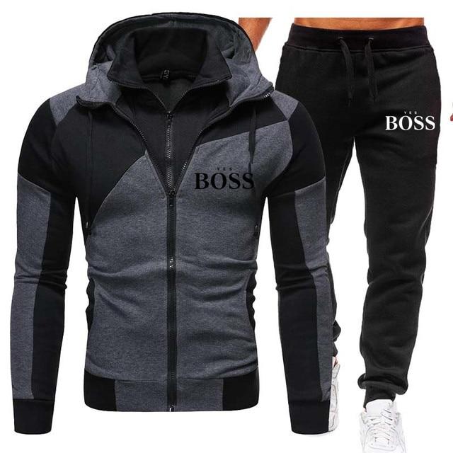 Winter Men's Tracksuit 2 Pieces Set Hoodies+Pants Sport Suits for Men Sweatshirt Zipper Hoodies Men's Clothing Sets Sportswear 4