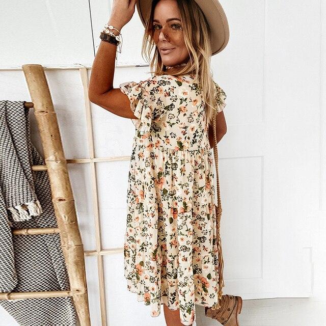 Casual Floral Print Summer Dress Boho Short Sleeve Woman Dress Female Loose Ruffles Mini Dresses For Women 2021 Robe Femme 6