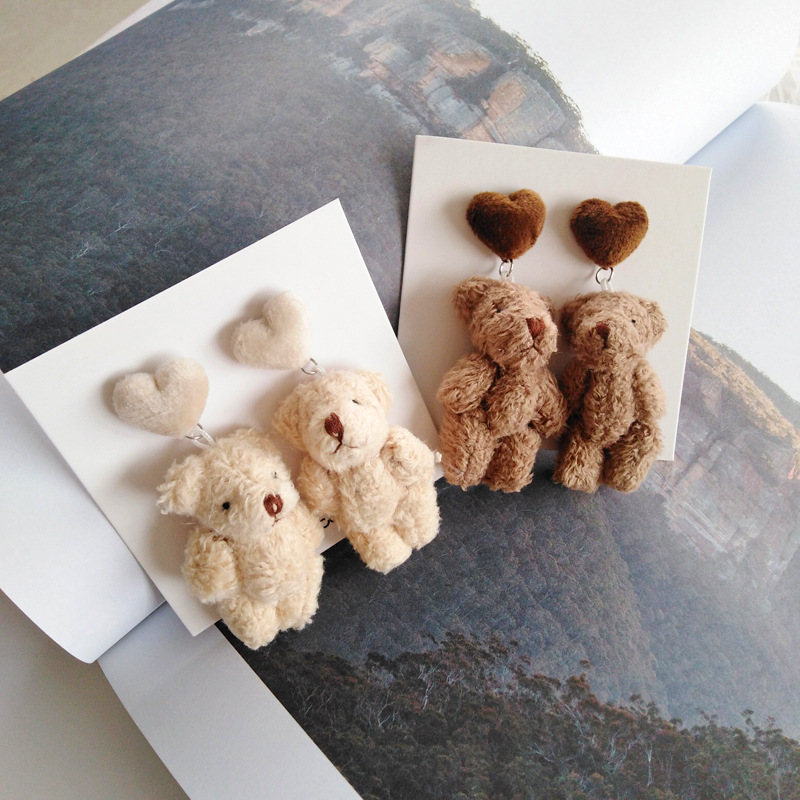 Cartoon Animal Jewelry Cute Bear Earring Ins Style Sweet Girl Funny Plush Earrings S925 Silver Needle Stud Earrings Q1688