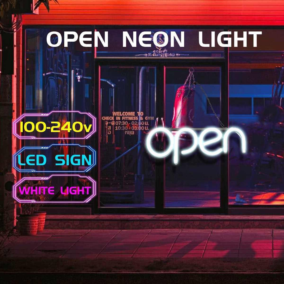 100-240V señal de neón abierta barra de luz Pub Pantalla de fiesta bombilla de neón enchufe de EE. UU. Publicidad Iluminación comercial hogar habitación decoración de la pared