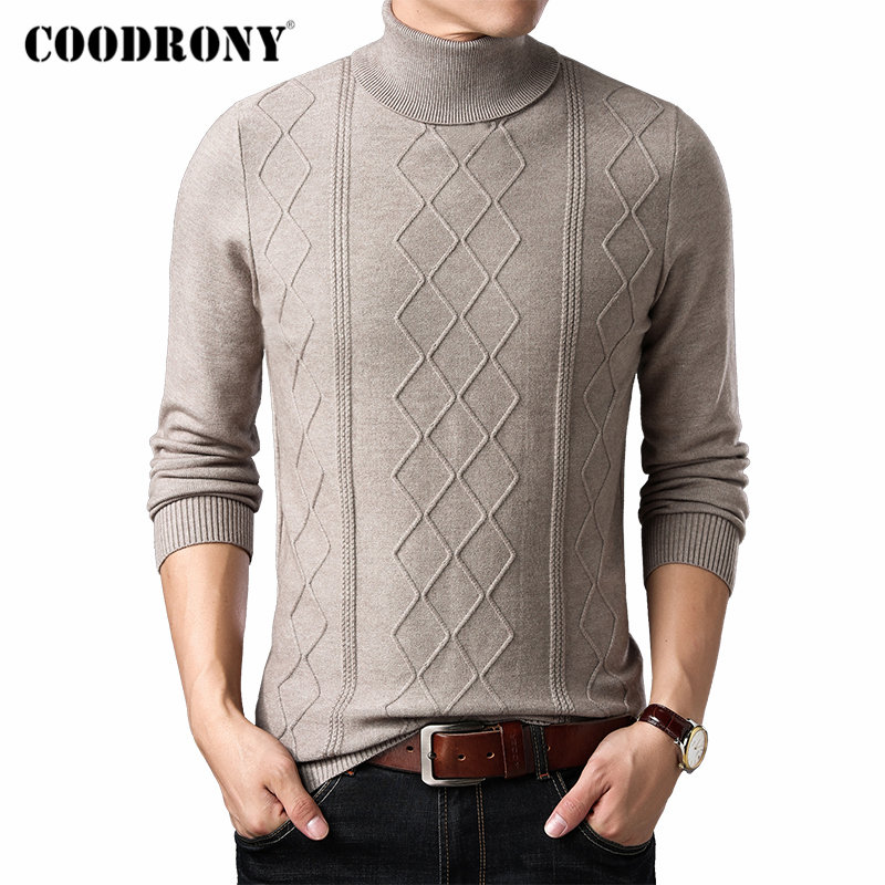 COODRONY Brand Sweater Men Autumn Winter Thick Warm Turtleneck Pull Homme Slim Fit Knitwear Cashmere Wool Pullover Men Top 91112