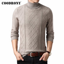 цены COODRONY Brand Sweater Men Autumn Winter Thick Warm Turtleneck Pull Homme Slim Fit Knitwear Cashmere Wool Pullover Men Top 91112