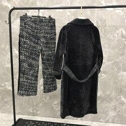 2020 conjunto de dos piezas para mujeres camiseta y pantalones para mujer chaqueta de cuero genuino pantalones de lana para mujer abrigo con puntadas de lana