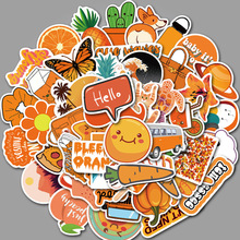 50PCS Pack Orange Vsco Girls Stickers For Kids Toy DIY Laptop Luggage Fridge Snowboard Waterproof Moto Bicycle Helmet Car Decals