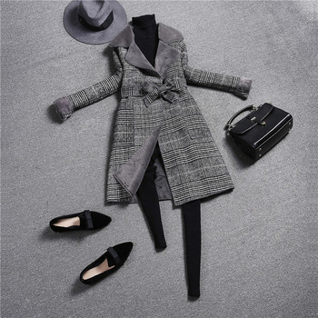 Fashion Vintage Plaid Wool Coat  1