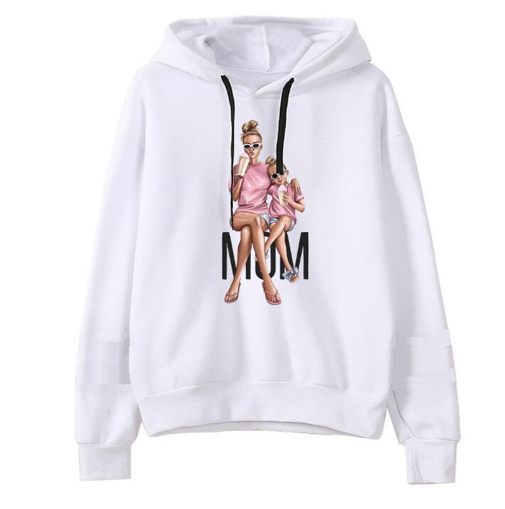 Woman Hoodies Long Sleeve Autumn Hooded Sweatshirt Super Mom Pull A Capuche Femme Sweatshirts Print Oversize Hoodies Women White