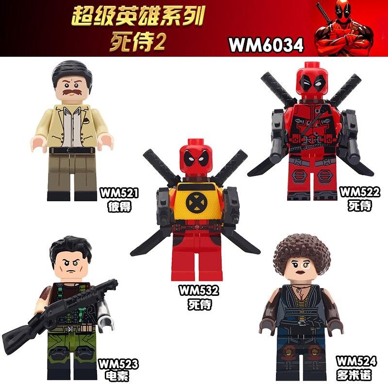 Filme Deadpool WM6034 2 Super Heróis Dominó Cabo Peter Armado Deadpool Bloco de Construção de Plástico Brinquedos para As Crianças Presentes