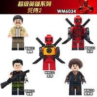 WM6034 Film Deadpool 2 Super Heroes Domino Kabel Peter Bewaffneten Deadpool Kunststoff Baustein Spielzeug für Kinder Geschenke
