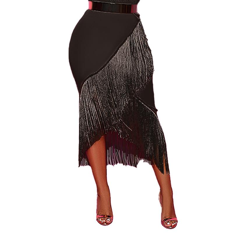 Women's Black Irregular Fringe Summer Skirts Stretch Plus Size Design 2020 Summer Beach Holiday Fashion Tassel Jupe Saias Femme