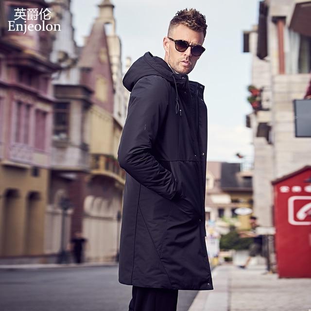 Enjeolon מותג החורף עבה ארוך מעיל מעיל גברים ארוך מעיל נים גברים Jcaket ארוך מעייל דובון גברים חם 3XL מעיל גברים MF0624
