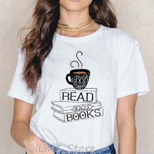 Drink good coffee read good books funny graphic t shirts women roupas tumblr summer top female t-shirt vintage t shirt clothes pratchett t good omens
