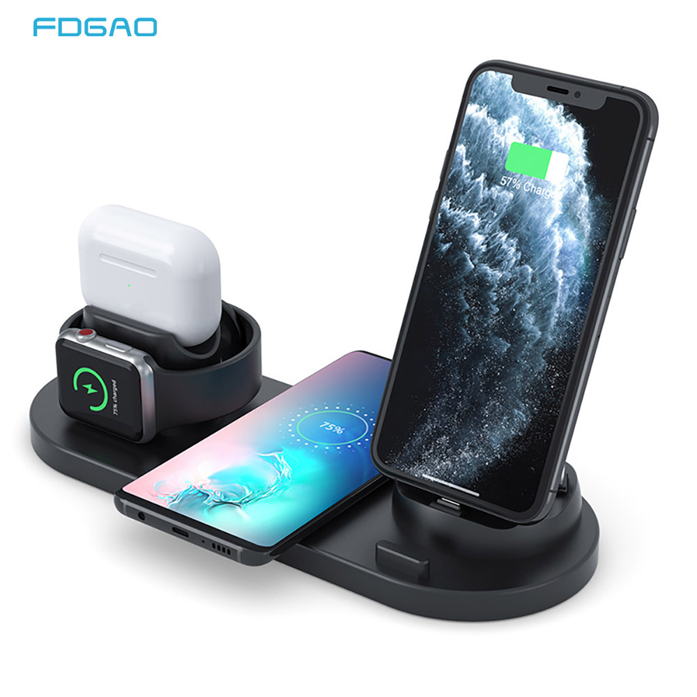 10W <font><b>Qi</b></font> Wireless Charger Dock Station <font><b>6</b></font> In 1 for <font><b>Iphone</b></font> Airpods pro Type C Micro USB Fast Charging Stand for Apple Watch Charger image