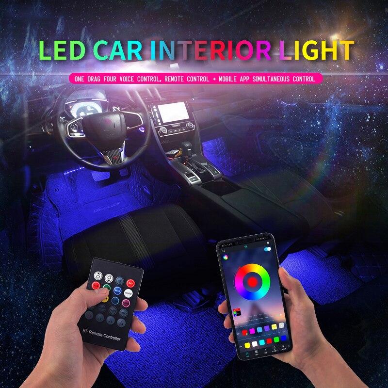 Led COCHE pie luz ambiental con USB encendedor de cigarrillos de fondo de música Control App RGB Auto decorativa Interior luces de la atmósfera