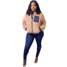 Winter Wome Suit Color Patchwork Jacket Coat + Long Pants With Pocket Femme Tracksuit Women Outfit