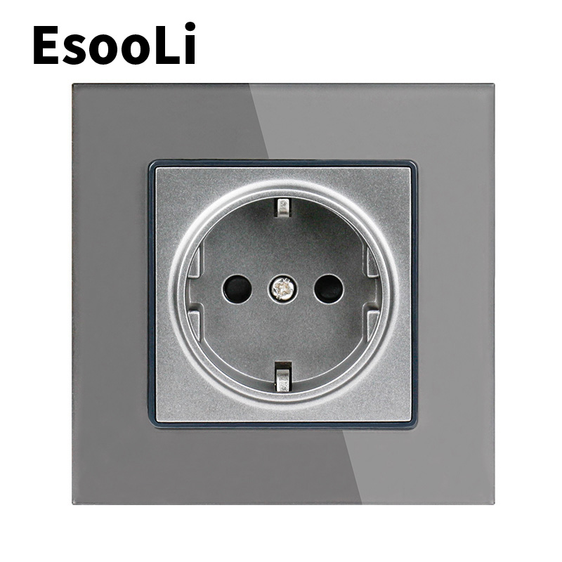 EsooLi Power Socket Glass Panel Wall Crystal  Power Socket Plug Grounded, 16A EU Standard Electrical Outlet 86mm * 86mm