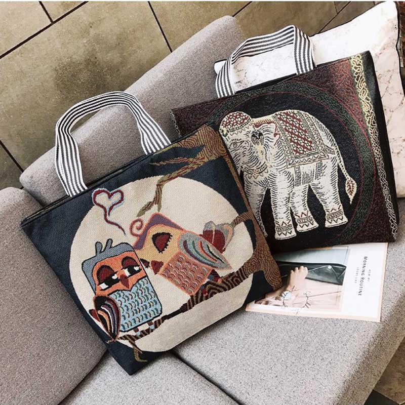 Senhoras Tote Sacos de Lona Pano Artesanais de Algodão Mulheres de Compras Dobrável bolsa de Ombro Shopper Eco Sacos de bolsas ecológicas reutilizables