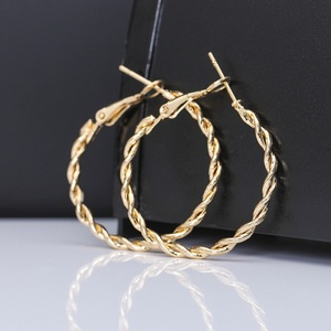 Hot Sale Circle Hoop Earrings Gold Color Twisted Wave Pattern Hoops For Women Party Creole Boucle D'oreille Bijoux(China)